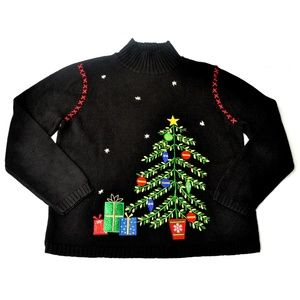 Classic Elements Christmas Tree Black Sweater Sz L